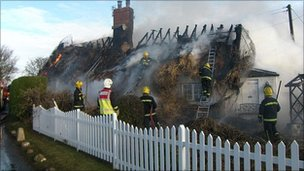 The thatched cottages caught fire (Pic: Essex County Fire and Rescue Service)