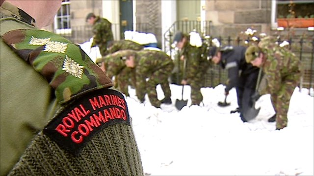 Armed forces clearing snow in Edinburgh