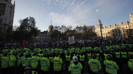 Police line up against protesters in central London