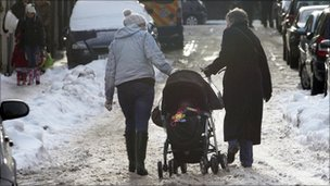 Women with pushchair