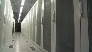 Rows of servers in the bunker