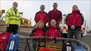 Alun Jones (left) with members of Aberglaslyn Mountain Rescue team