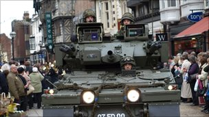 The tank leading the parade