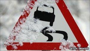 Skid warning sign