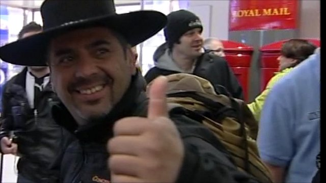 One of the miners from Chile arrives in Manchester