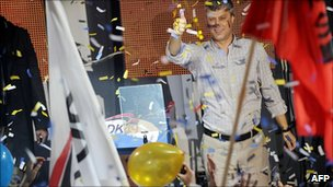 Hashim Thaci at a victory rally in Pristina