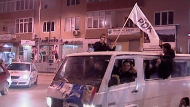Kosovan exit poll celebrations