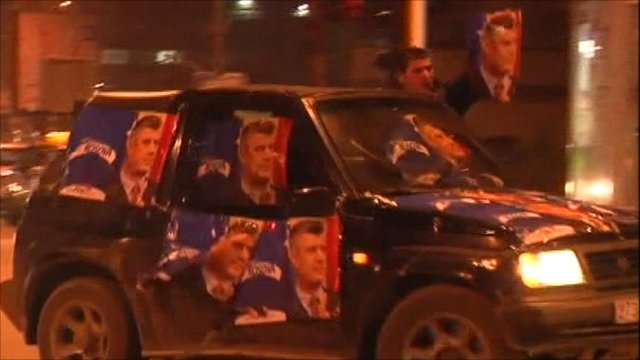 Car driven by supporters of Prime Minister Hasim Thaci