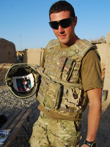 Pte Daniel Powell from Cardiff keeps a photograph of his girlfriend Zoe in his helmet when he goes out on patrol