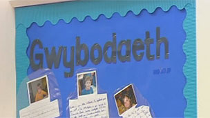 Noticeboard at Welsh school