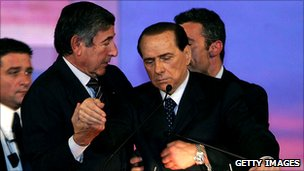 Silvio Berlusconi collapses while making a political speech in Montecatini, 26 November 2006. His bodyguards immediately stepped in to stop him falling over.