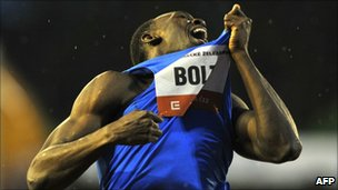 World and Olympic triple gold medallist Usain Bolt reacts on the finish line in the 300m at the IAAF World Challenge in Ostrava on May 27, 2010