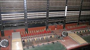 Telephone switchboard in underground bunker