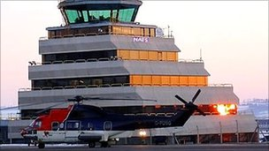 Helicopter at Aberdeen Airport [Pic: National Air Traffic Services]