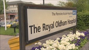 Royal Oldham Hospital sign