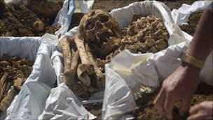 Remains of Japanese soldiers are collected on 14 December 2010