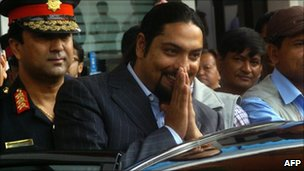 File picture from September 2007, showing Nepal's Crown Prince Paras Shaha leaving a hospital in Kathmandu