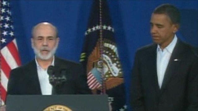 Ben Bernanke, the head of the Fed, and US President Barack Obama