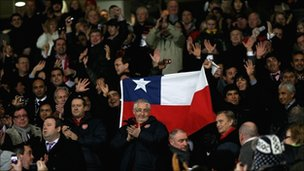Chile miners in the Old Trafford crowd