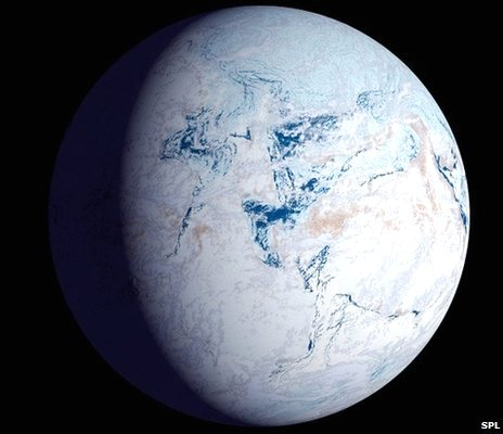 An impression of the Earth frozen in snow and ice some 590 million years ago.