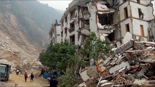 A collapsed building in Beichuan