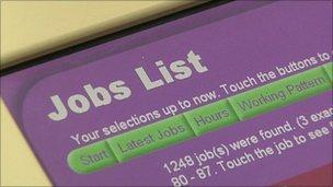 Job centre computer screen listing jobs
