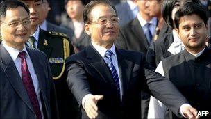 Chinese Prime Minister Wen Jiabao arrives in Delhi on 15 December 2010