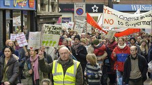Oswestry protest against new supermarket