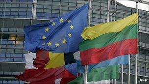 Flags at European Parliament, Strasbourg - file pic