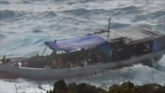 A boat thought to be carrying asylum seekers near Christmas Island