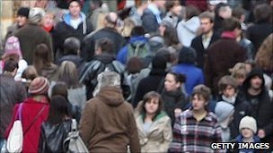 Crowd of shoppers