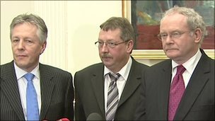 Peter Robinson, Sammy Wilson and Martin McGuinness