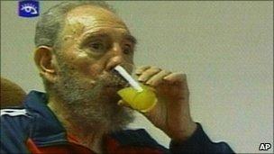 Television still of Fidel Castro drinking orange juice, 30 Jan 2007