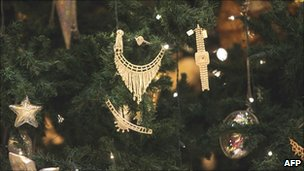 A jewel-encrusted Christmas tree in the Emirates Palace hotel in Abu Dhabi, the UAE