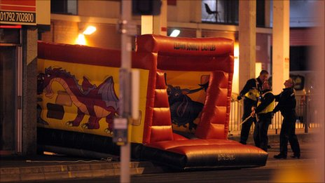 The bouncy castle used by police