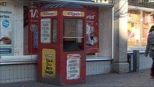 Newspaper kiosk