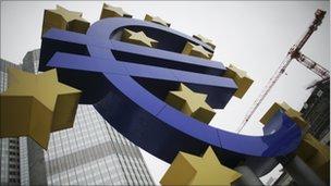Euro logo outside the ECB's headquarters