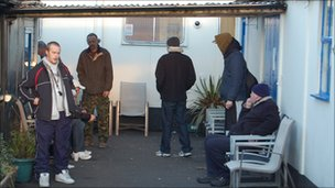 Homeless people at the Noah day centre