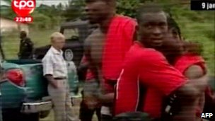 Screen grab from Televisao Publico de Angola showing Togolese footballers in Cabinda (8 January 2010)