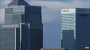 Bank offices in Canary Wharf