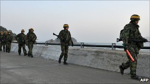 South Korean troops on Yeonpyeong Island on 17 December 2010