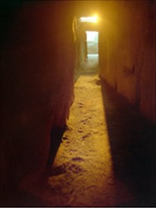 Sunlight entering the chamber at Newgrange. Photo courtesy of Con Brogan, Department of Environment, Heritage and Local Government