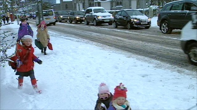 Snow in Aberdeen, Scotland
