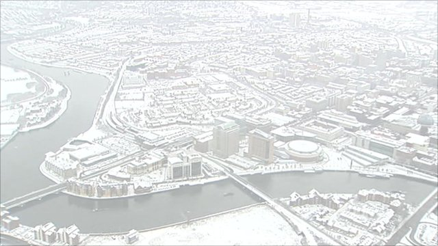 A blanket of snow covers Belfast