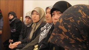 Wives and mothers of the men attend a hearing in Almaty, Kazakhstan
