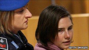 Amanda Knox in court