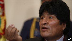 President Evo Morales at a press conference in la Paz, 3 December 2010