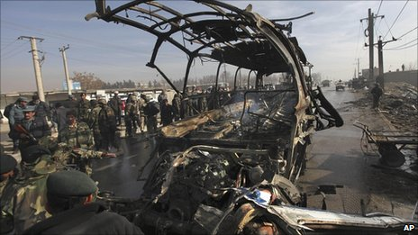 Remains of an army bus hit by militants in Kabul on Sunday