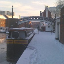 Brindley Place in the snow