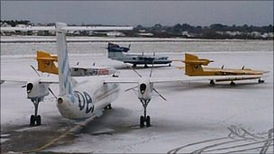 Snow at Guernsey Airport